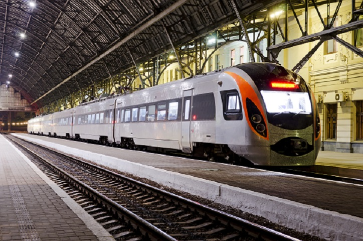 High-speed train at the railway station